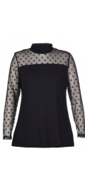 Studio - Hanna blouse with fine lace with bombs in sleeves and over the shoulder
