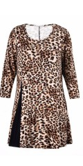Studio - Tunica with 3/4 sleeves in soft leopard print with a black slit in the one side