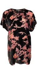 Gozzip - Oversize tunica in nice velours print with coloured transparent flowers