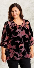 Gozzip - Blouse with round neck in nice velours with coloured transparent flowers