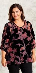 Gozzip - Bluse med rund hals i flot velour med farvet gennemsigtig blomster
