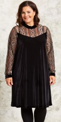 Gozzip - Velours dress with lace sleeves with fine gold thread