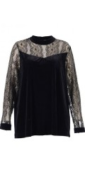Gozzip - Velours blouse with lace sleeves with fine gold thread