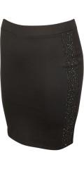 Zoey - Söt kjol i milano ribb med paljetter i sidorna och vid gummiband i midjan