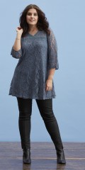 Zhenzi - Stylish lace tunica in a-shaped with 3/4 sleeves and smart v cutting