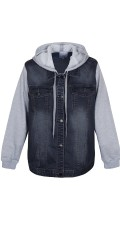 Zhenzi - Grey blue denim jacket with soft sleeves and cap