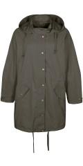 Zhenzi - Smart foret jakke i trench stil med aftagelig hætte