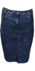 Zhenzi - Denim skirt 5 pockets and adjustable rubber band in the waist also raw nail at the bottom