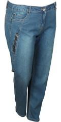 Zhenzi - Salsa byxor normala passform jeans med streck och justerbar gummiband i midjan
