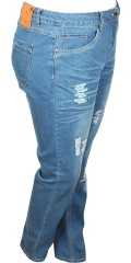 Zhenzi - Stomp denim jeans pants with 5 pockets, belt straps also adjustable rubber band in the waist