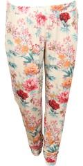 Zhenzi - Jersey byxor i vacker tryck med gummiband i hela midjan