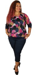 Zhenzi - Chiffon blouse with hard sewn top and 3/4 sleeves with rib