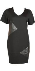 Studio - Kleid in strechy Material mit smarte Felder in Kunst Leder