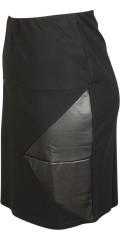 Studio - Nederdel med elastik i taljen og indsats af immiteret læder