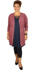 Zhenzi - Long soft mottled cardigan with v cutting and long sleeves