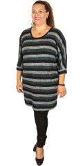 Cassiopeia - Elias tunica dress with round neck and in thin knit with stripes
