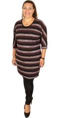 Cassiopeia - Elisa tunika kjole med rund hals og i tynd strik med striber