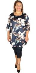 Zhenzi - Tunica with 3/4 sleeves in impressive nice flowery fabric, hard quality