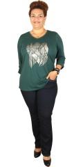 Zhenzi - Smart strechy t-shirt med 3/4 ærme og v-hals
