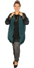 Zhenzi - Smart long windbreaker with rough zipper and sleeve in contrast colour