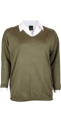 Adia - Pullover with v cutting and 3/4 sleeves
