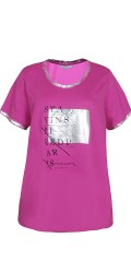 Zhenzi - T-shirt with nice silver print on breast, sleeves and neck