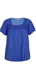 Zhenzi - T-shirt with short sleeves and rectangular neck with rough lace front