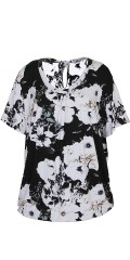 Zhenzi - Nice flowery t-shirt with slits in the neck and rib edge at the bottom