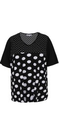 Zhenzi - T-shirt blouse with white bombs, short sleeves and v cutting