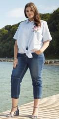 Zhenzi - Stribet skjorte bluse med korte ærmer og med flot broderi