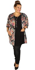 Gozzip - Kimono cardigan i lækkert blomstret print med korte ærmer