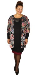 Gozzip - Kimono cardigan in great flowery print with short sleeves