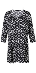 Zhenzi - Black/white tunica with 3/4 sleeves and in a-shaped with fine cut