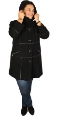 Handberg - Luxury wool jacket with cap and nice leather diamonds sewed on in front piece