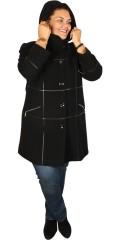 Handberg - Luxus Wolle Jacke mit Kaputze und hübsche Leder Karos aufgenäht in das Vorderstück