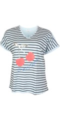 Zhenzi - T-shirt with short sleeves and v cutting, fresh stripes and cherry front