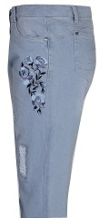 "Zhenzi - Stomp pants legging fit, stumpebukser med smart broderi og ""reparerede huller"""
