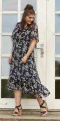 Zhenzi - Chiffon Kleid mit genäht Unterrock
