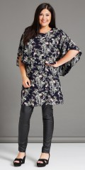 Studio - Midnight blue dress with sewn cape, as forming sleeves