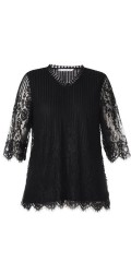 Studio - Lace blouse with 3/4 sleeves and with hard sewn lining