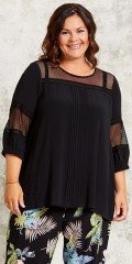 Gozzip - Blouse/tunica with 3/4 sleeves and smart lace inserted in sleeves and at the top front and back