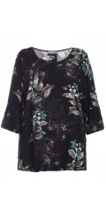 Gozzip - Blouse in super nice print and 3/4 sleeves with flounces