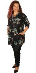 Gozzip - Tunika Kleid in super hübsch Druck, mit Pfosten Verschluss und 2 Taschen