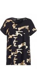 Gozzip - T-Shirt mit kurze Ärmeln und V-Hals sowie super hübsch Gold Druck