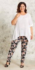 Gozzip - Leggings with rubber band in whole the waist and in super soft and flowery fabric
