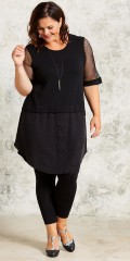 Gozzip - Dress with smart net sleeves also nice cut and detail centrally on