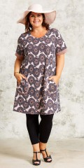 Gozzip - Retro dress with short sleeve and 2 pockets and in super smart print