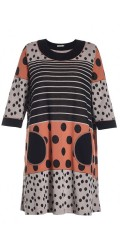 Gozzip - Retro tunica/dress with 3/4 sleeve and 2 pockets and in super smart print