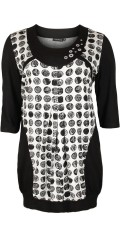 Handberg - Tunica with 3/4 sleeves and nice neck with silver circles and in smart print front and back