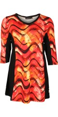 Handberg - Tunica with nice warm print both front and in the back, 3/4 sleeves and neck with lace edge